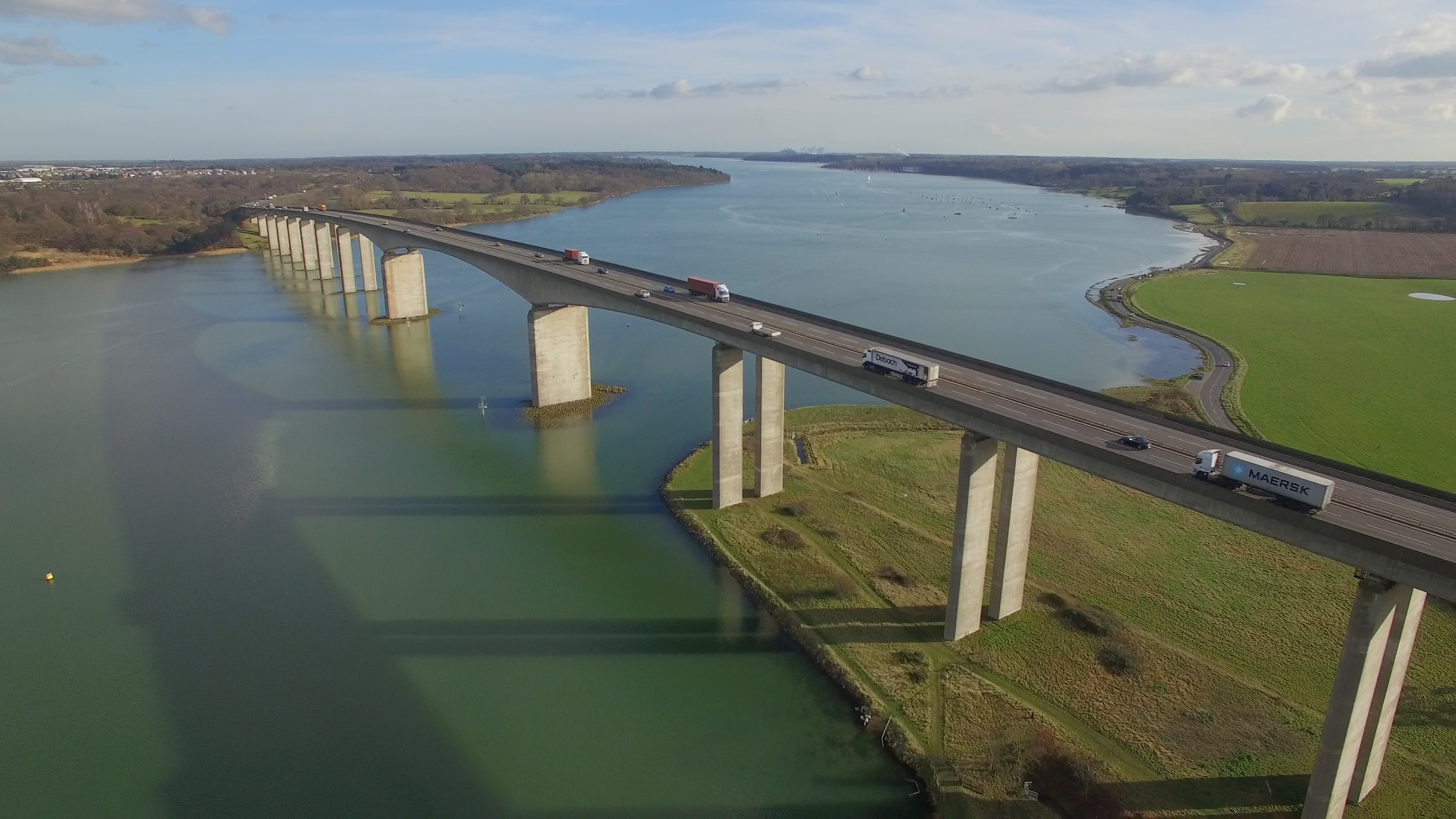 Aerial photography of Orwell Bridge from a drone