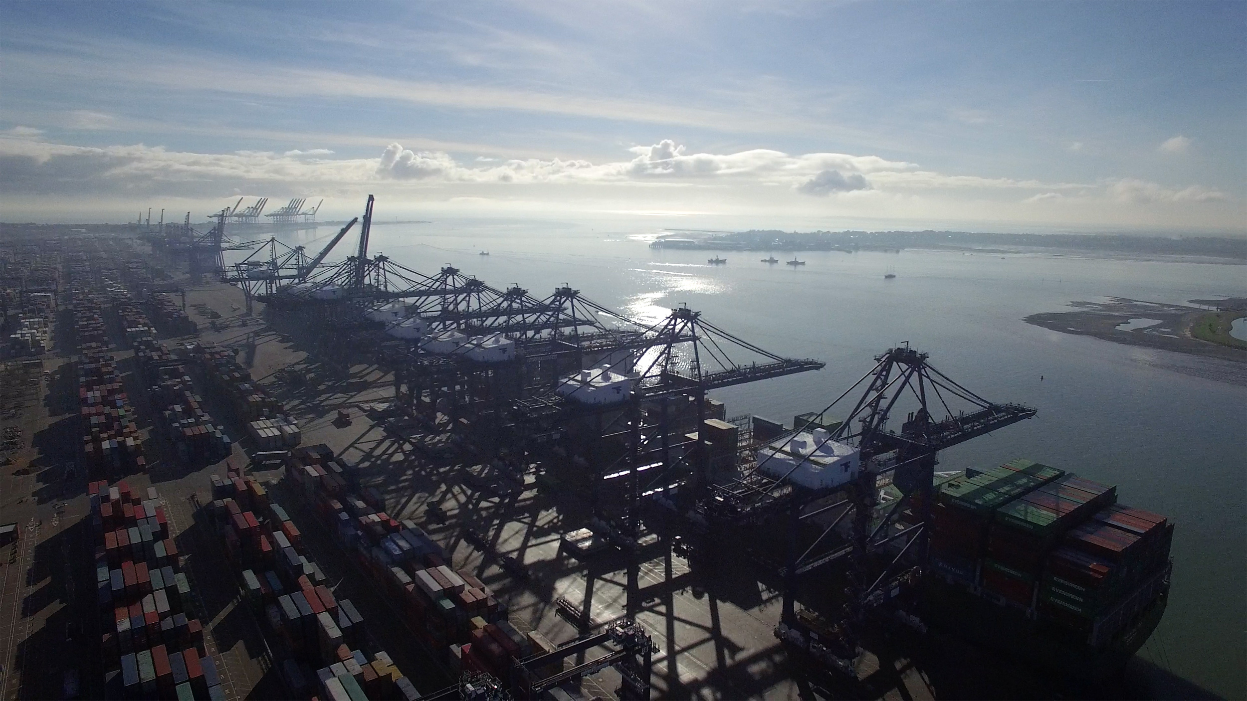Aerial photo of Felixstowe container port, shot from a drone