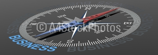 Business word on compass with blue and red needle