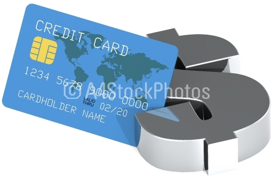 Dollar sign and blue credit card isolated on white background