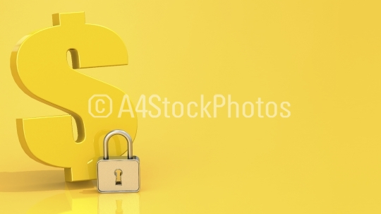 Dollar sign with padlock on yellow background