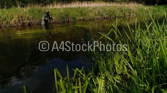 Dry fly fishing on a chalk stream in Norfolk