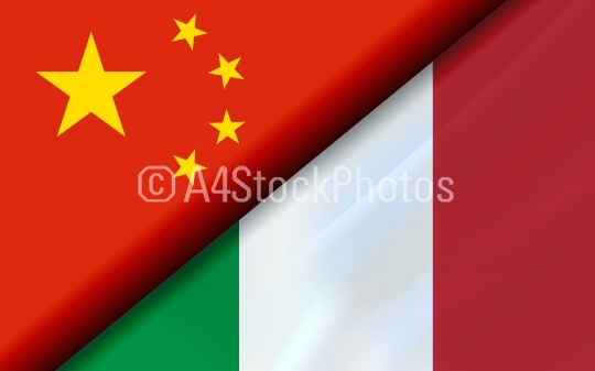 Flags of the China and Italy divided diagonally