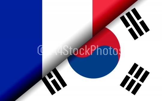 Flags of the France and South Korea divided diagonally
