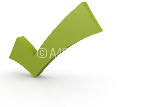 Green check mark isolated on white background