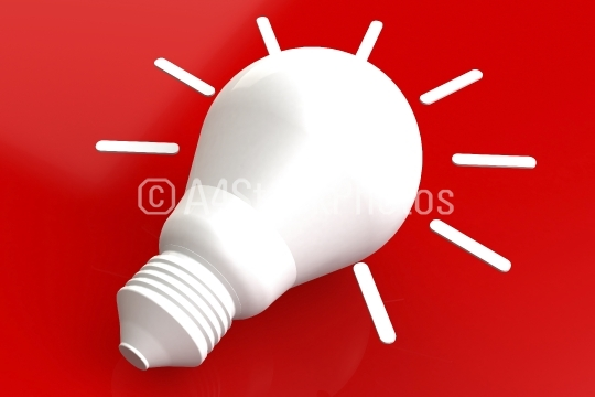 Light bulb with red background
