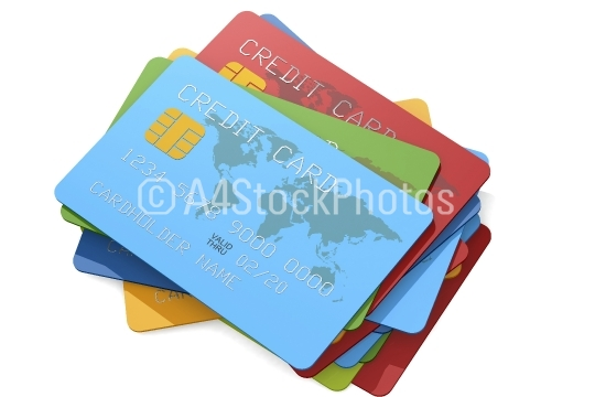 Multiple credit cards with various of color