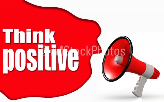 Think Positive word with megaphone