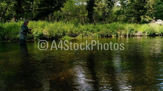 Trout fishing on a summer chalk stream